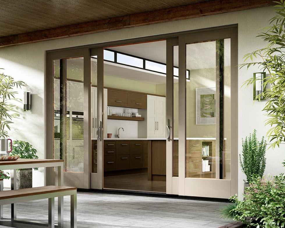 Brown Frame Sliding Glass Doors