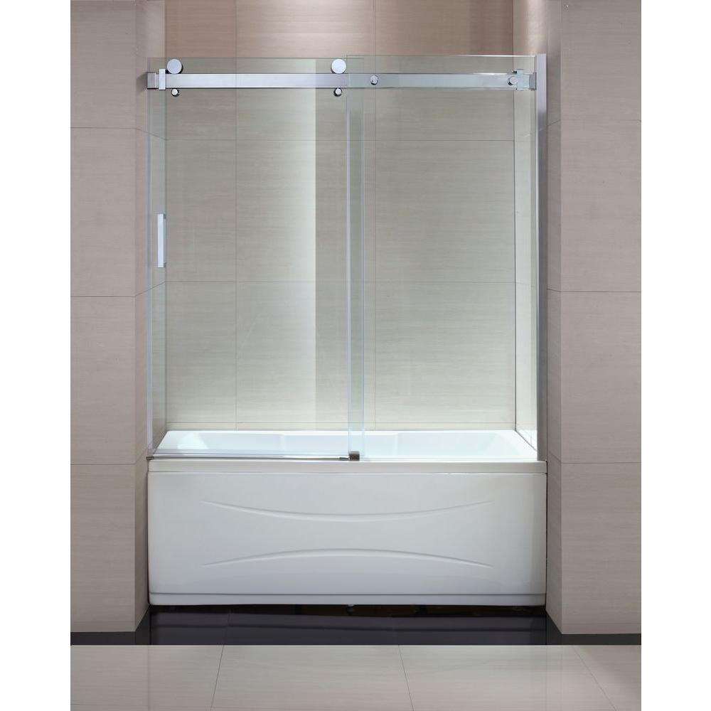 Bathtub Sliding Shower Doorsschon judy 60 in x 59 in semi framed sliding trackless tub and