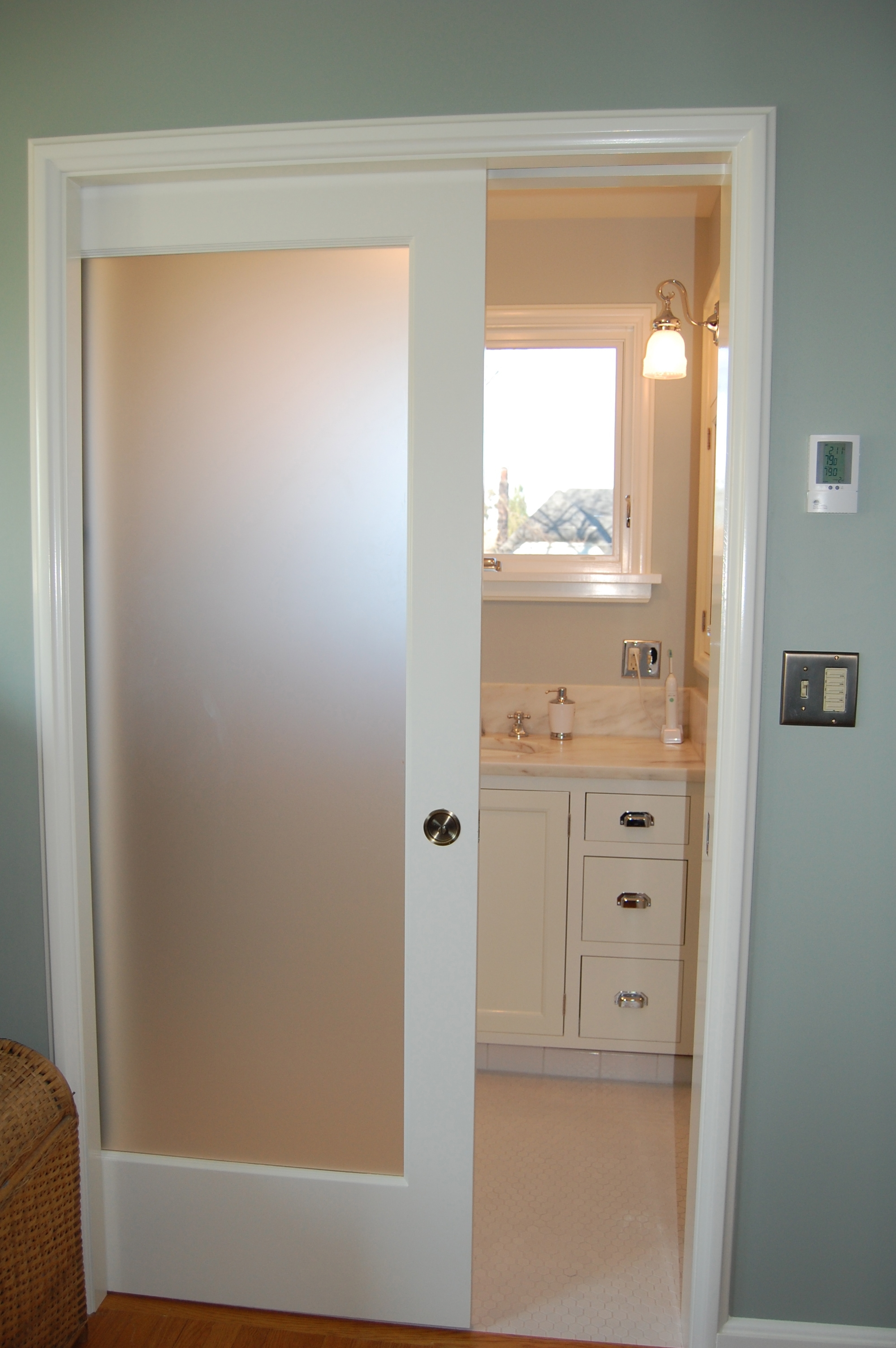 Interior Glass Sliding Pocket Door For Bathrooms