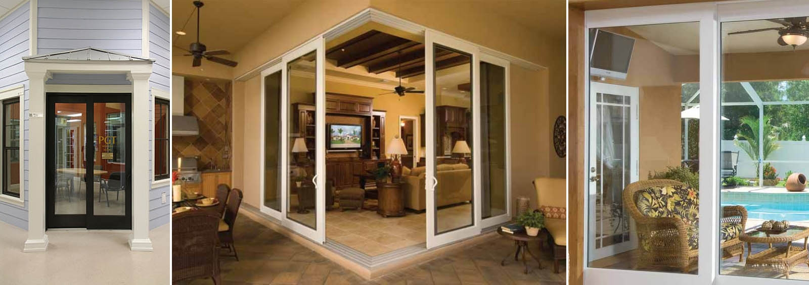 Movie sliding glass doors