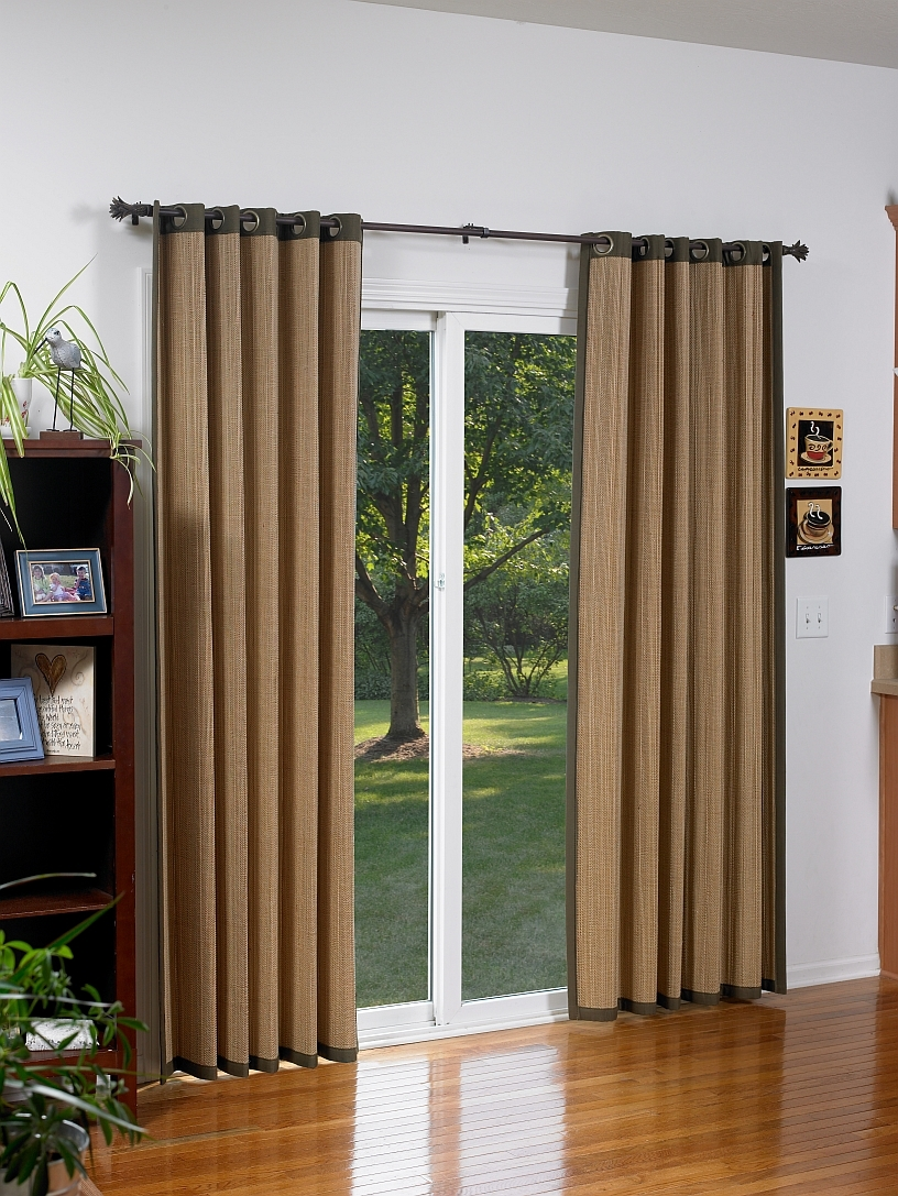 Bamboo Slider Panel Blinds For Patio Doors And Windowsbamboo grommet window panels blinds