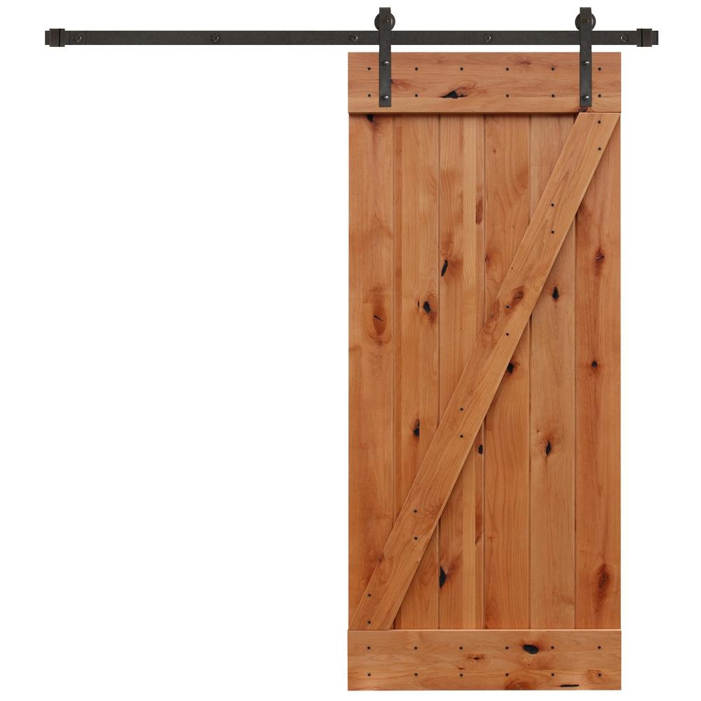 Barn Sliding Door Kitpacific entries 36 in x 84 in rustic unfinished plank knotty