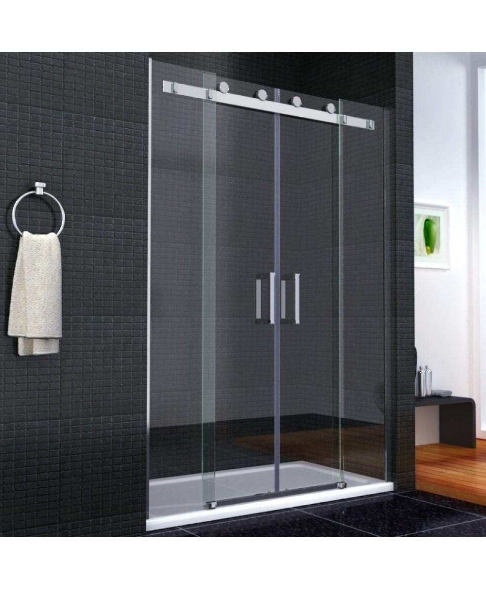 Frameless Double Sliding Shower Doorsaqua i8 frameless double sliding shower door 1600mm x 1950mm high