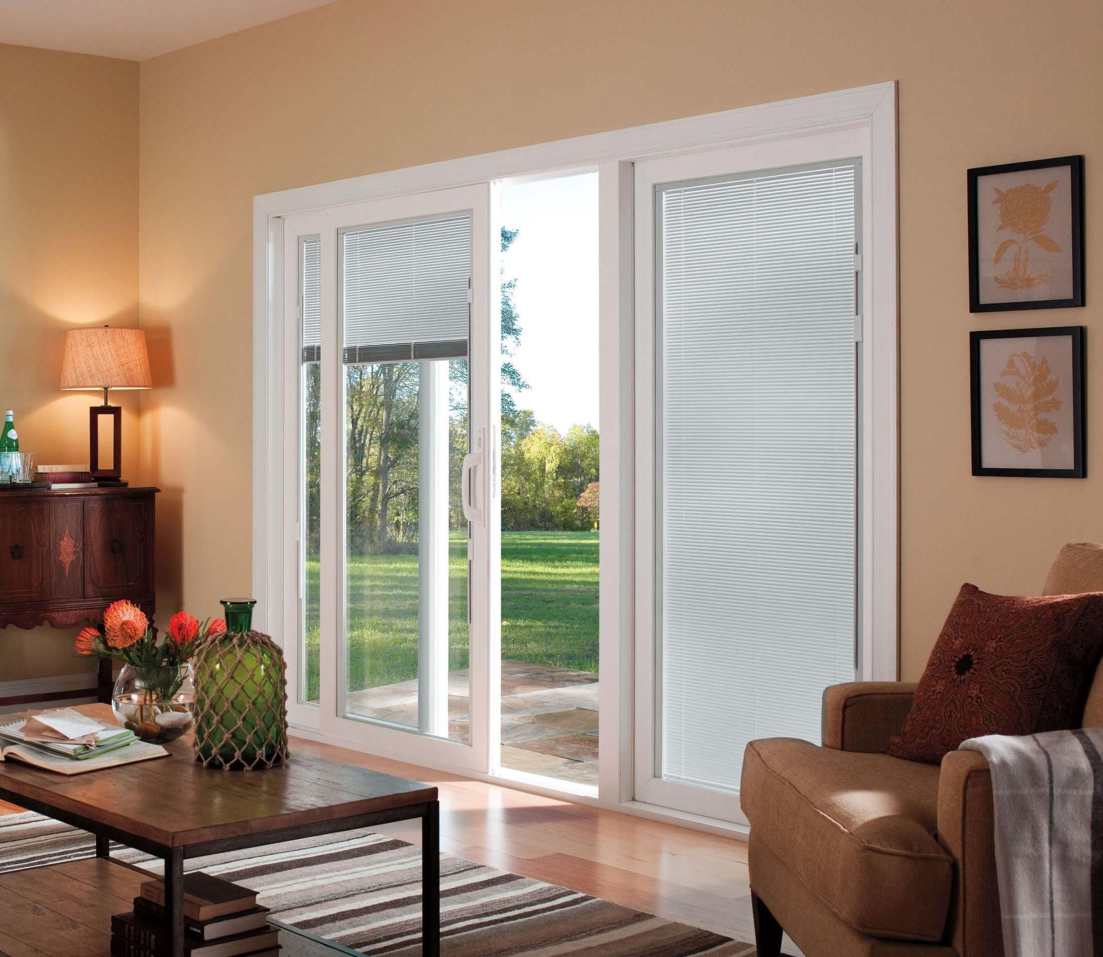 Triple Pane Sliding Glass Door With Blinds Sliding Doors