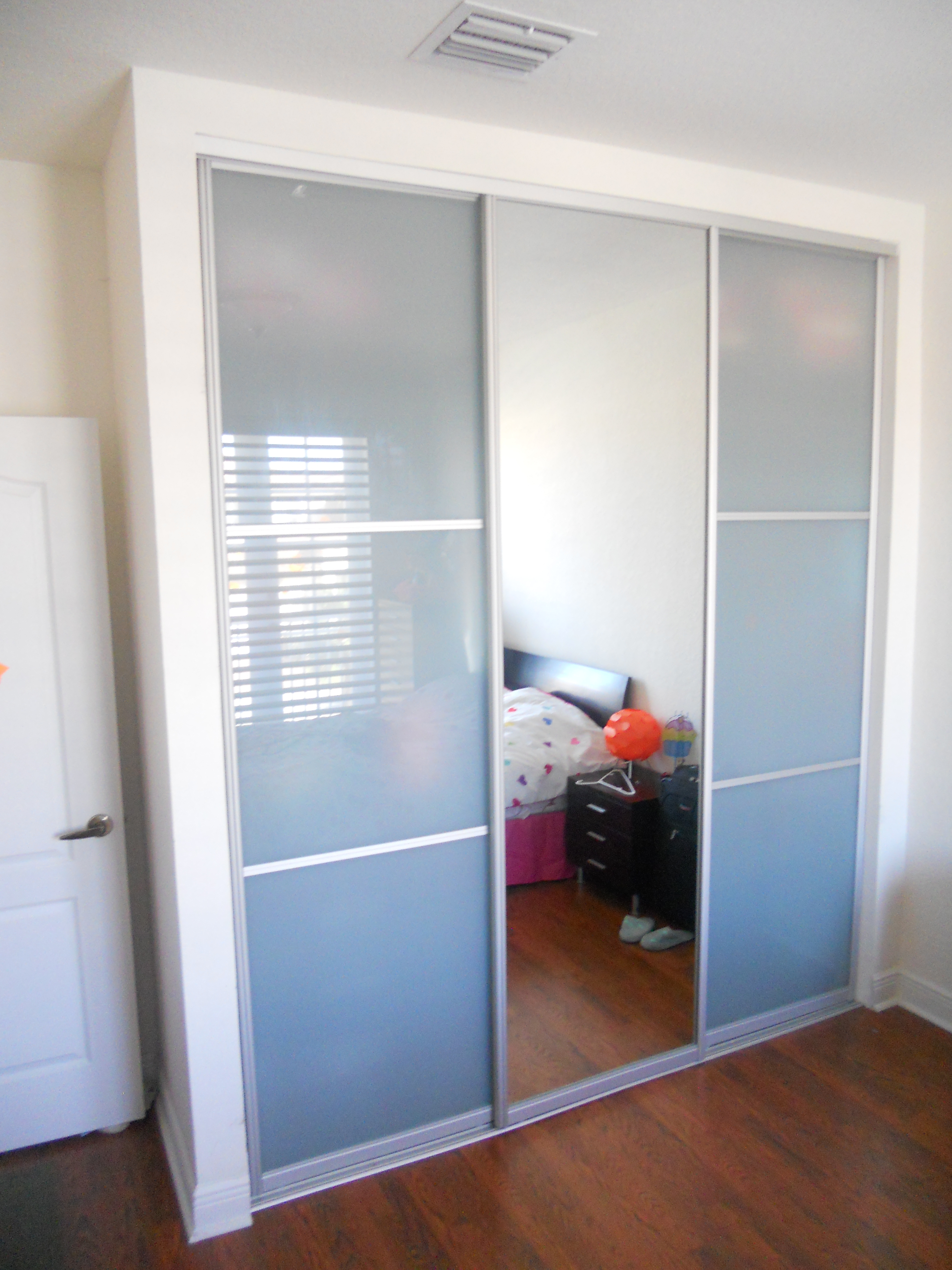 Triple Sliding Glass Closet Doorswonderous sliding closet doors with frosted glass roselawnlutheran