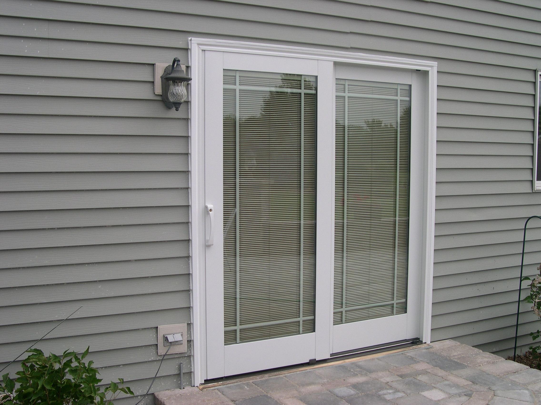 Wood Sliding Door With Blinds Between Glass