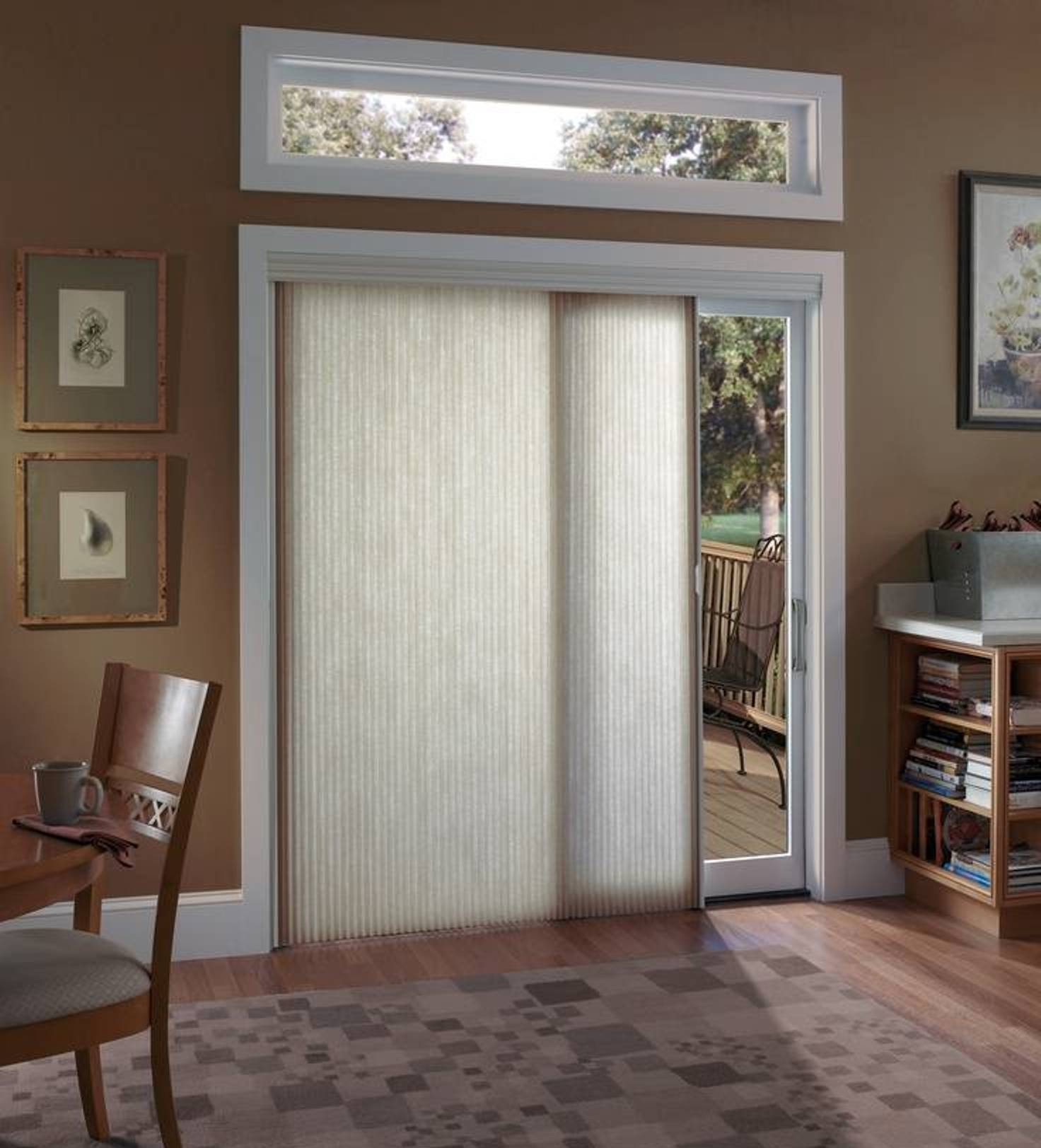 Sliding Patio Door Shadeswoven woods keep a room feeling so bright love the use of them on