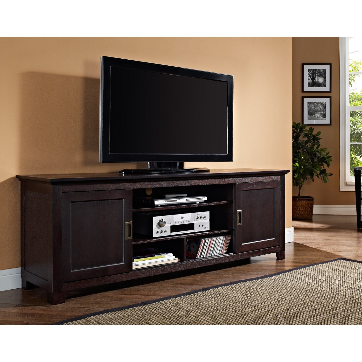 Sliding Door Tv Stand Espressowalker edison 70 wide espresso wood tv stand console with sliding