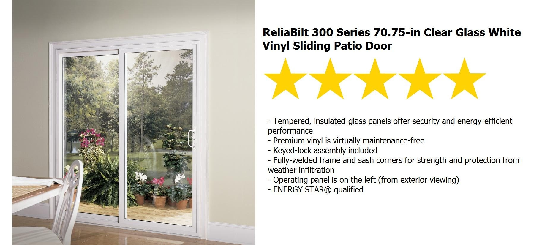 Reliabilt Sliding Patio Doors1825 X 825