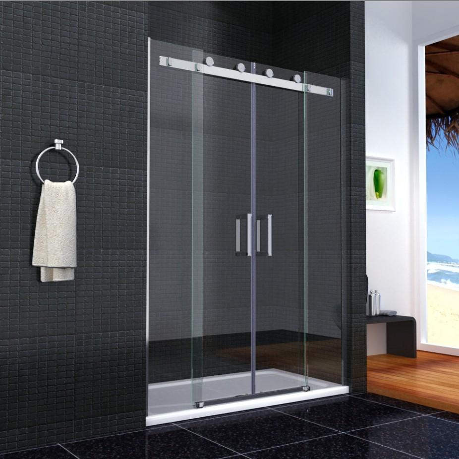 Double Sliding Door Shower Screenshower enclosure walk in sliding double door glass cubicle side