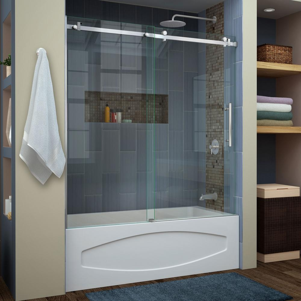 Frameless Sliding Tub Shower Doorsdreamline enigma air 56 in to 60 in x 62 in frameless sliding