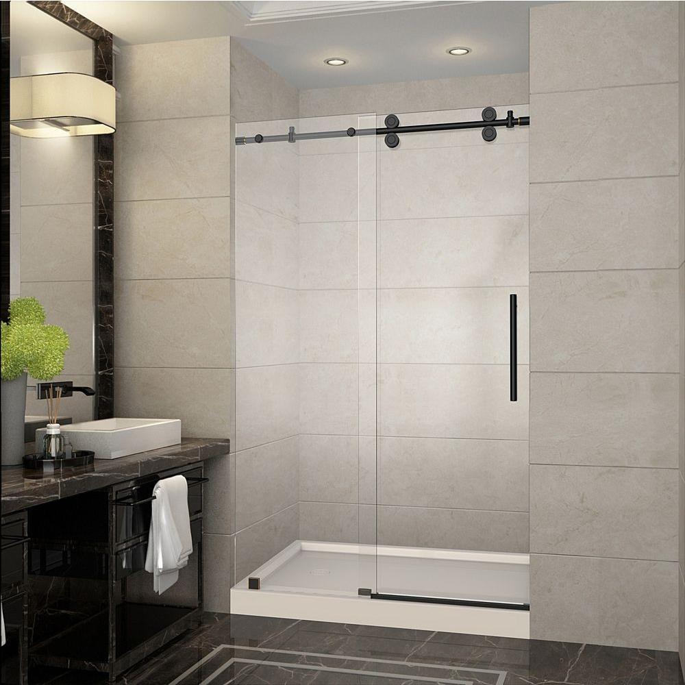 Oil Rubbed Bronze Sliding Shower Dooraston langham 48 in x 775 in completely frameless sliding
