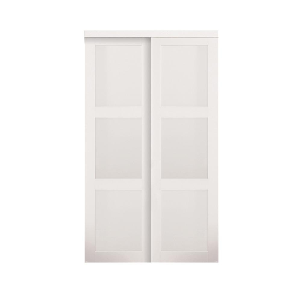 Truporte Sliding Closet Doorstruporte 48 in x 80 in off white 3 lite tempered frosted glass