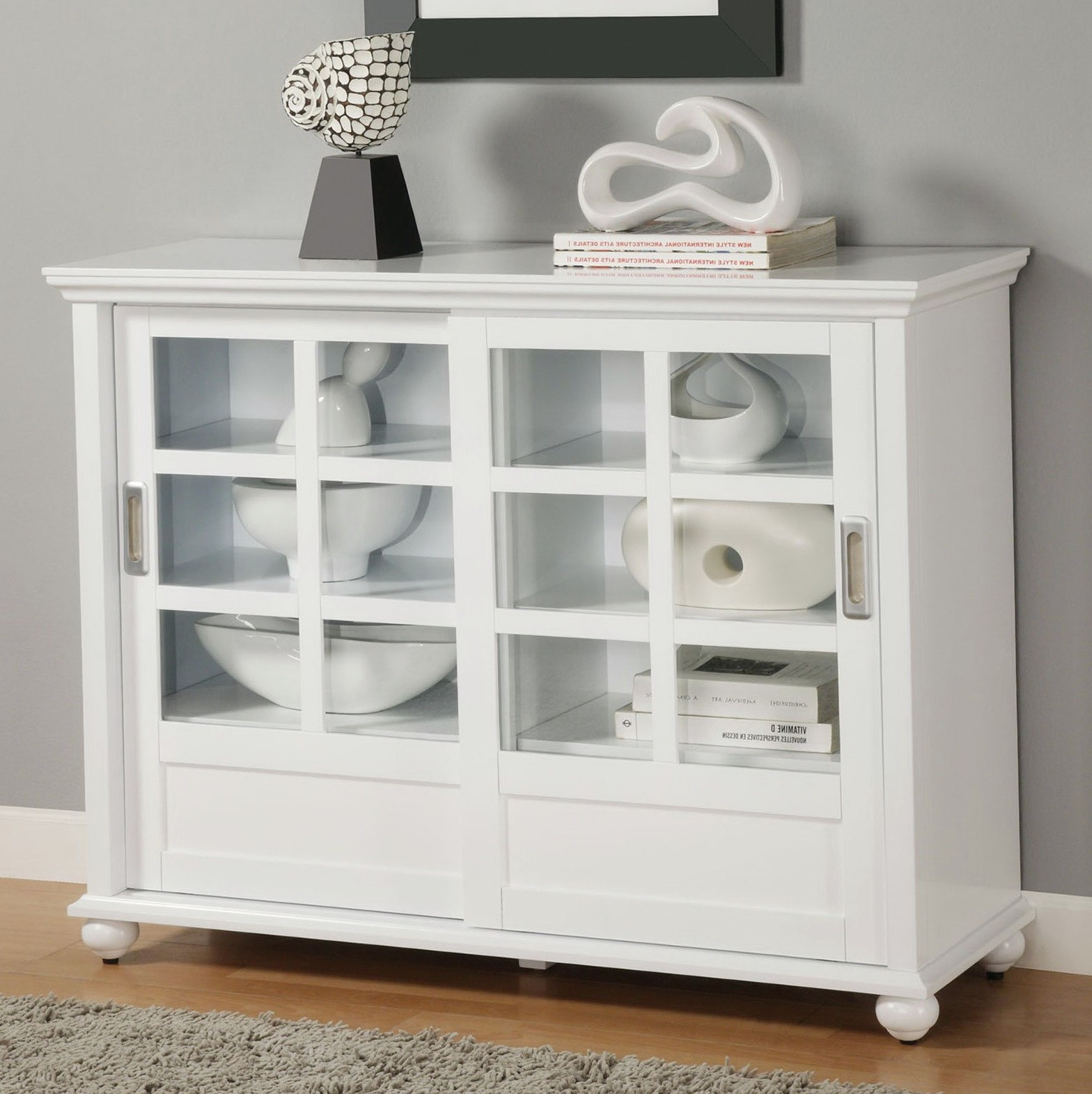White Cabinet With Sliding Glass Doors1568 X 1571