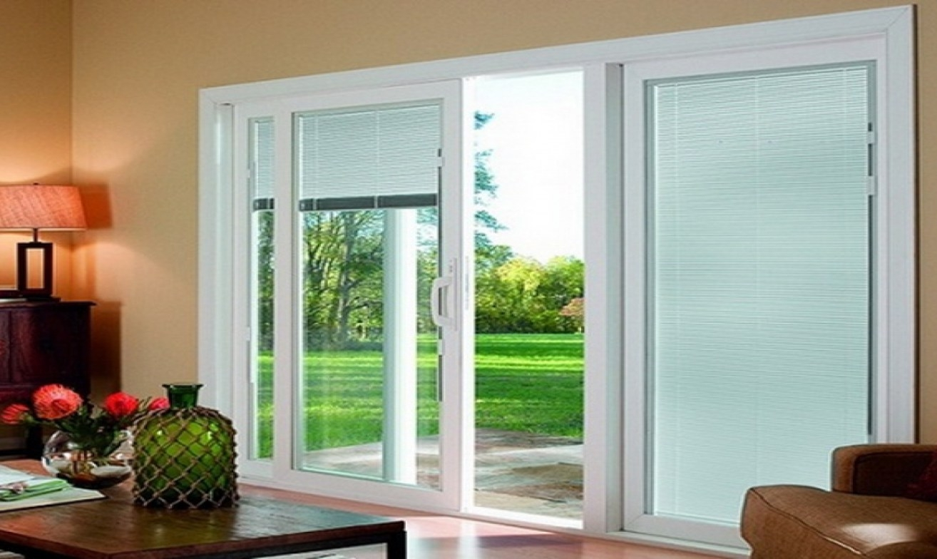 3 panel sliding glass door with blinds sliding doors for Long sliding glass doors