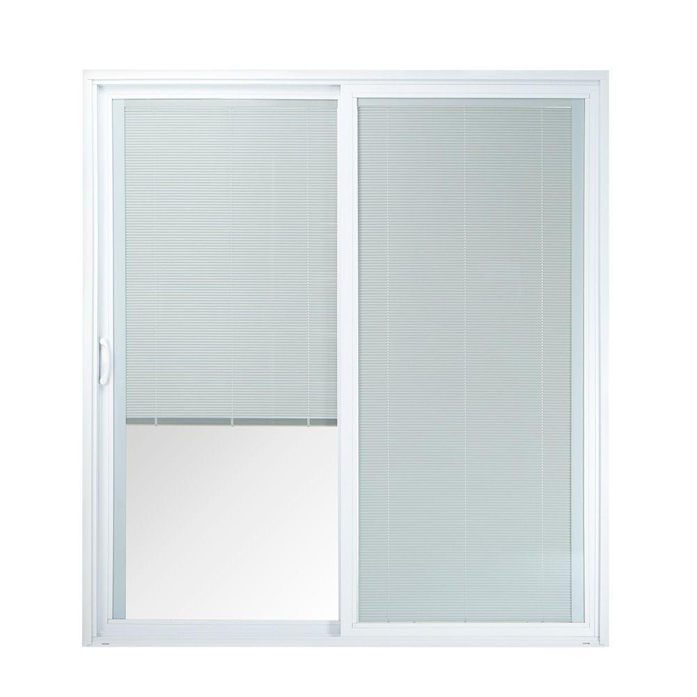 American Craftsman Sliding Door With Blindsamerican craftsman 72 in x 80 in 50 series white vinyl left hand