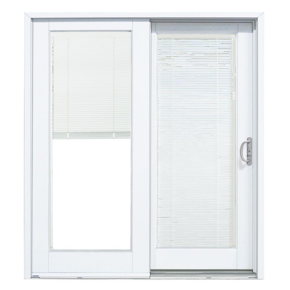 Blinds Between The Glass Vinyl Sliding Patio Doormp doors 72 in x 80 in smooth white right hand composite dp50