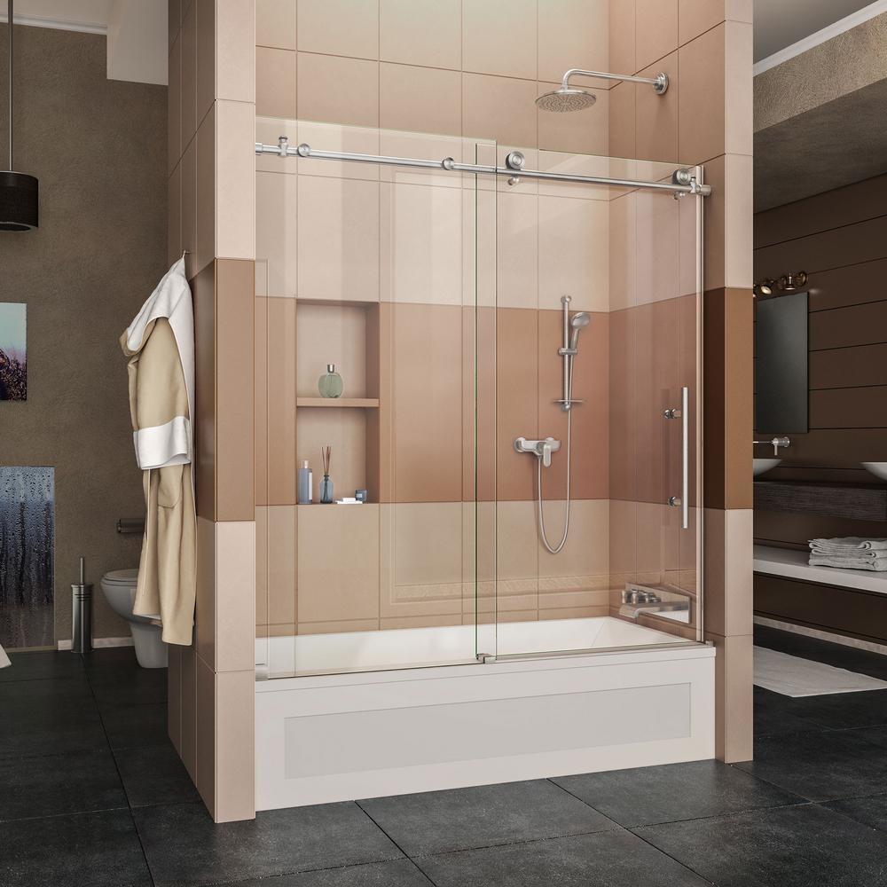 Frameless Sliding Tub Door Hardwaredreamline enigma x 56 in to 59 in x 62 in frameless sliding tub
