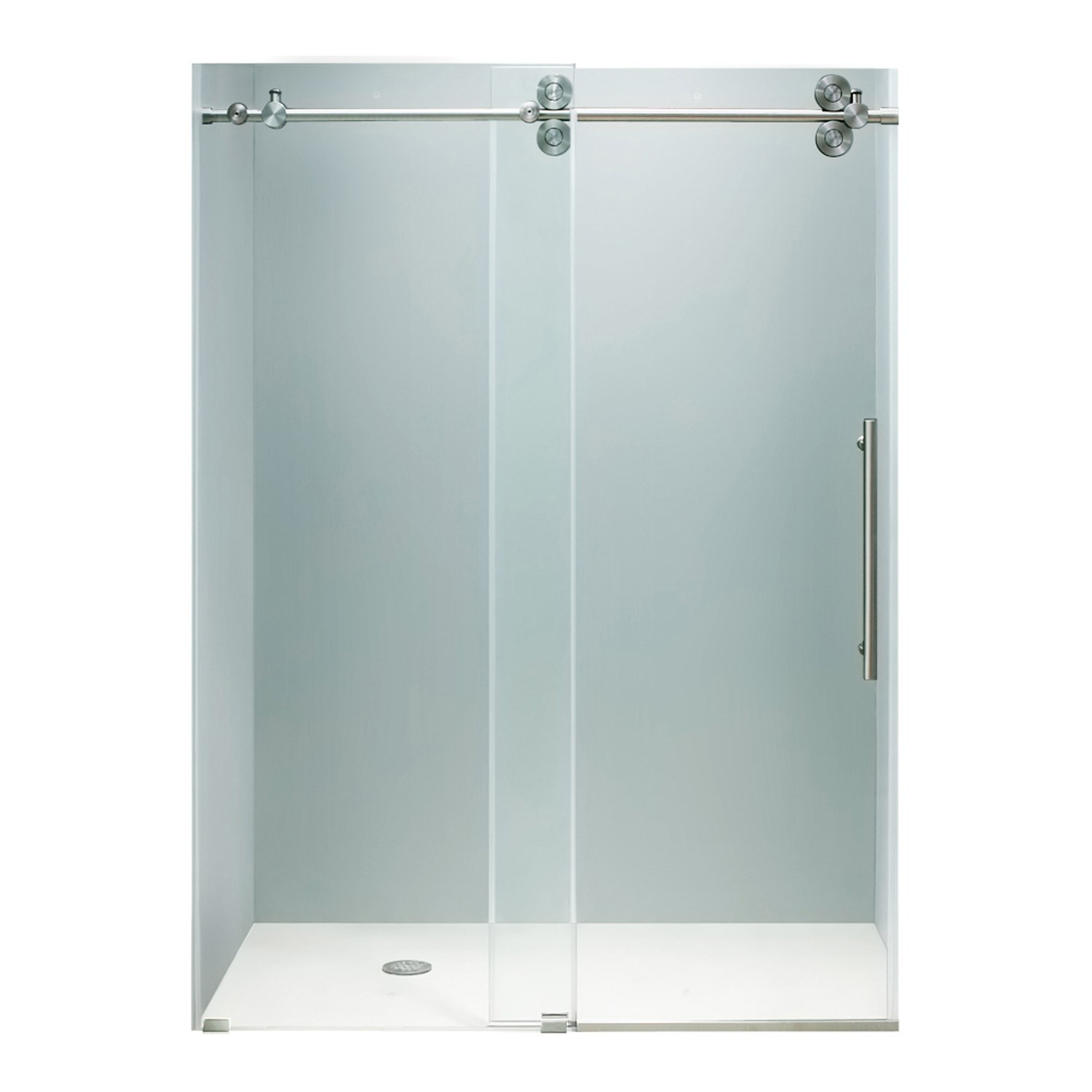 kohler brushed nickel frameless sliding shower door sliding doors. Black Bedroom Furniture Sets. Home Design Ideas