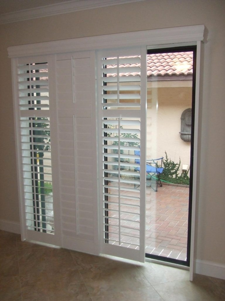 Plantation Shutters For Sliding Doorssliding french doors rockwood shutters blinds and draperies