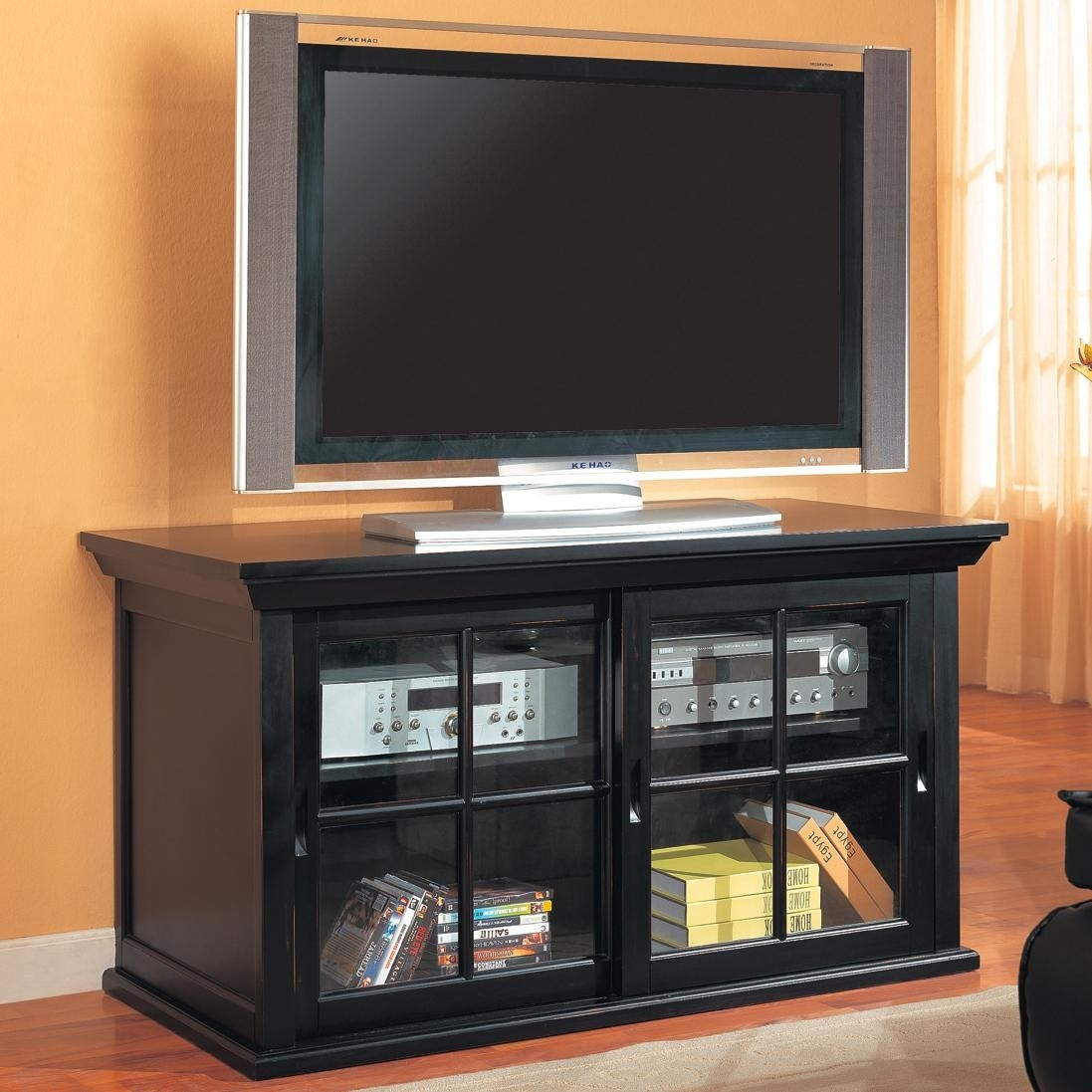 Tv Stand With Sliding Glass Doorstv stands transitional media console with sliding glass doors