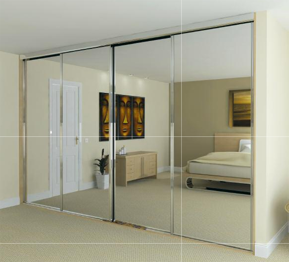 White Sliding Mirror Wardrobe Door Kit