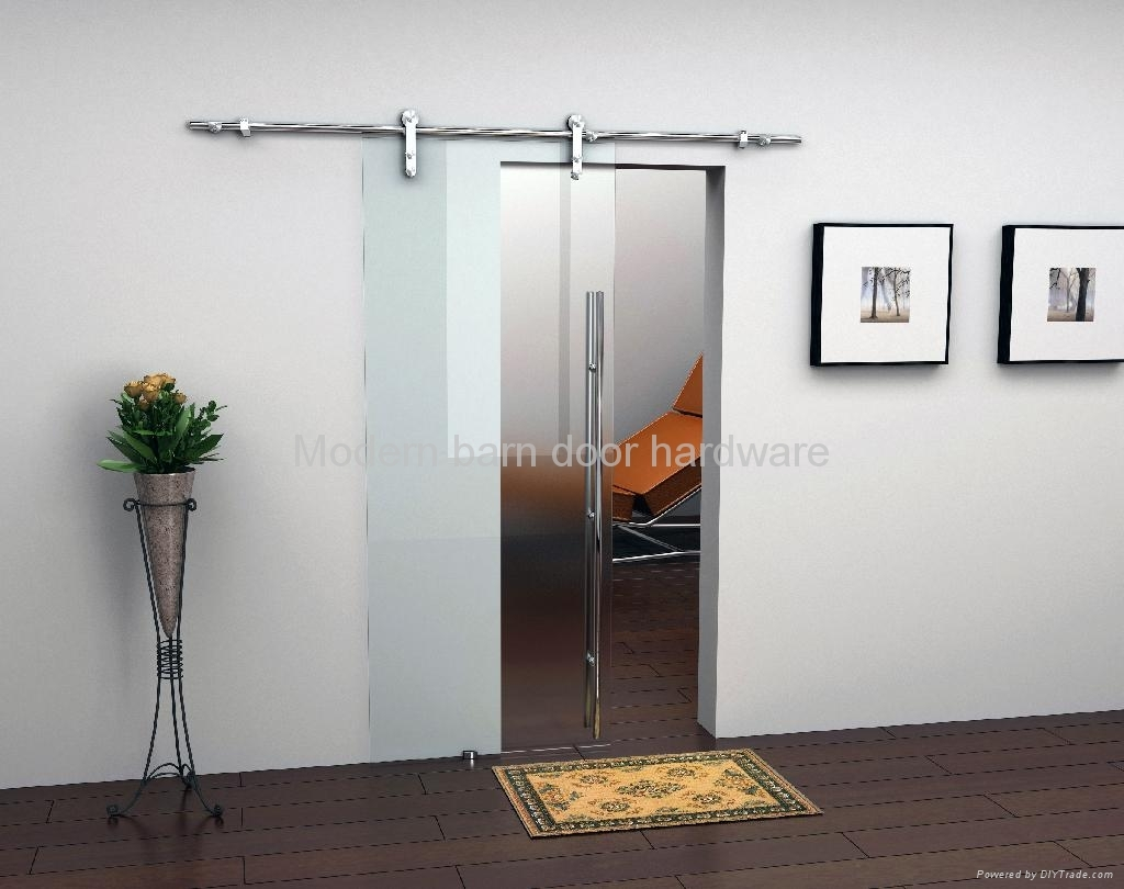 track hardware contemporary this barns interior nickel privacy frosted doors semi opaque door finish glass an kit comes with brushed barn the for and