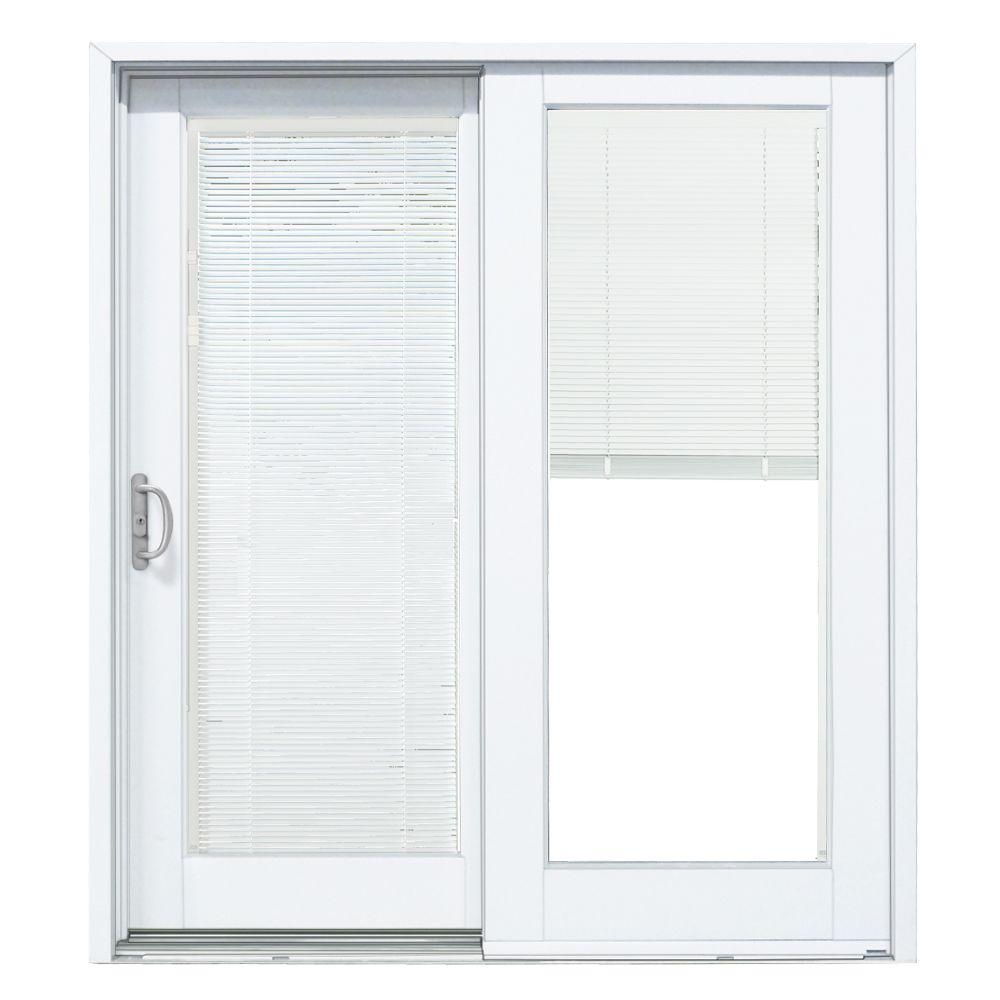 Sliding Patio Door Blinds Between Glassmp doors 72 in x 80 in smooth white left hand composite dp50