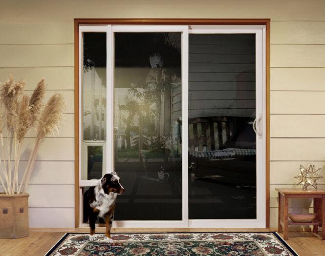 sliding glass door with built-in doggie door